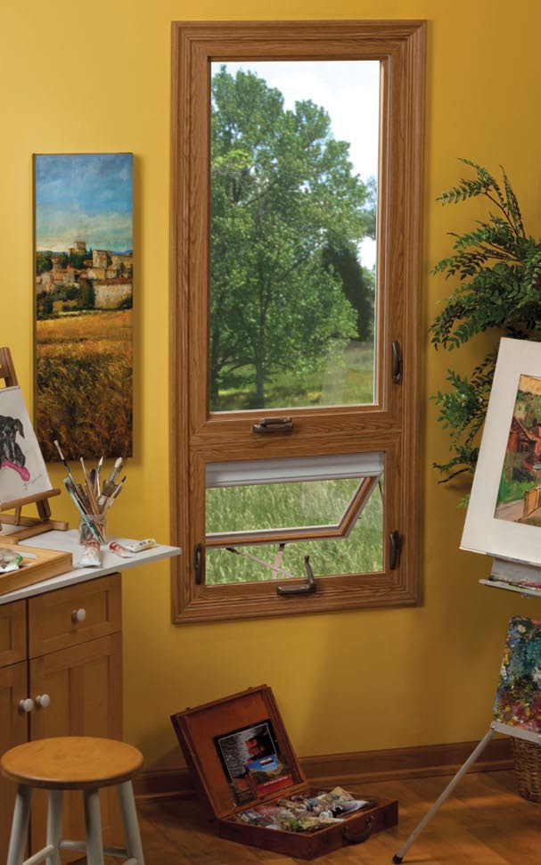 Wood Finish Casement Window with Awning Window