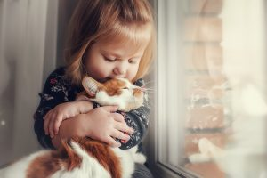 Girl with cat at window